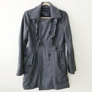 grey ruffle pea coat